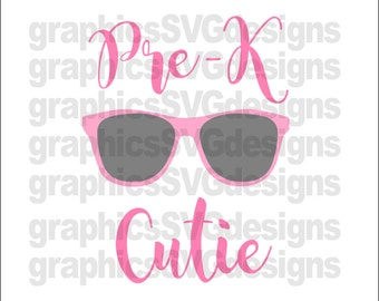 Pre-K Cutie SVG File For Cricut and Cameo DXF for Silhouette Studio Cutting File Prek svg, Girl svg, Baby girl svg, Back to school svg