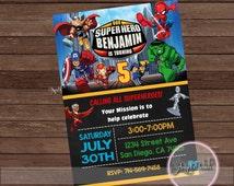 Superhero Squad Party Invitation, Superhero Squad Birthday Invitation, Superhero Birthday Party Invitation, Chalk Invitation, Digital File.
