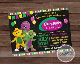 Barney Party Invitation, Barney and Friends Birthday Invitation, Barney and Friends Invitation, Barney Chalkboard Invitation, Digital File