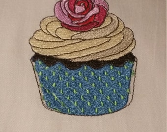 Large flour kitchen towel with cupcake trim and embroidery cupcake