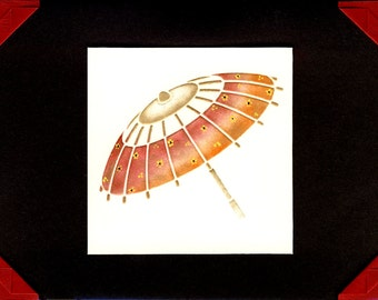 Thinking of You Greeting Card - Hand Painted Asian Parasol
