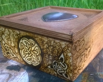 Pyrographed Tea Chest W/ 100 Tea Bags