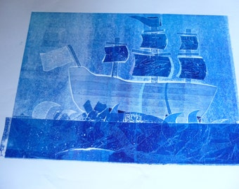 Pirate Ship Collograph print