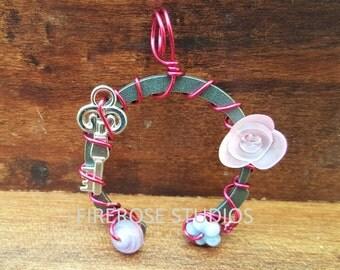 Small Pink SteamPunk Pendant