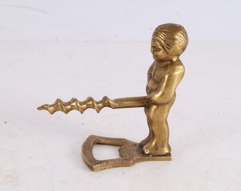 Vintage Old Brass Made Corkscrew Wine Beer Bottle Opener.