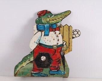 Antique Vintage Old Carnival Fair Shooting Gallery Target Painted Crocodile.