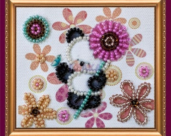 "Bead Embroidered Magnet ""Panda with Flowers"""