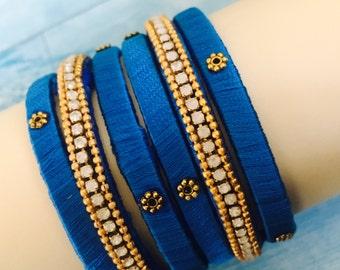 Blue silk thread bangles