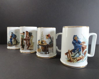 Norman Rockwell Cups Mugs Set of 4 - Vintage 1985
