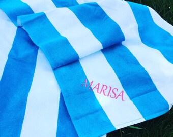 Personalized Stripe Beach Towel- Monogrammed Beach Towel