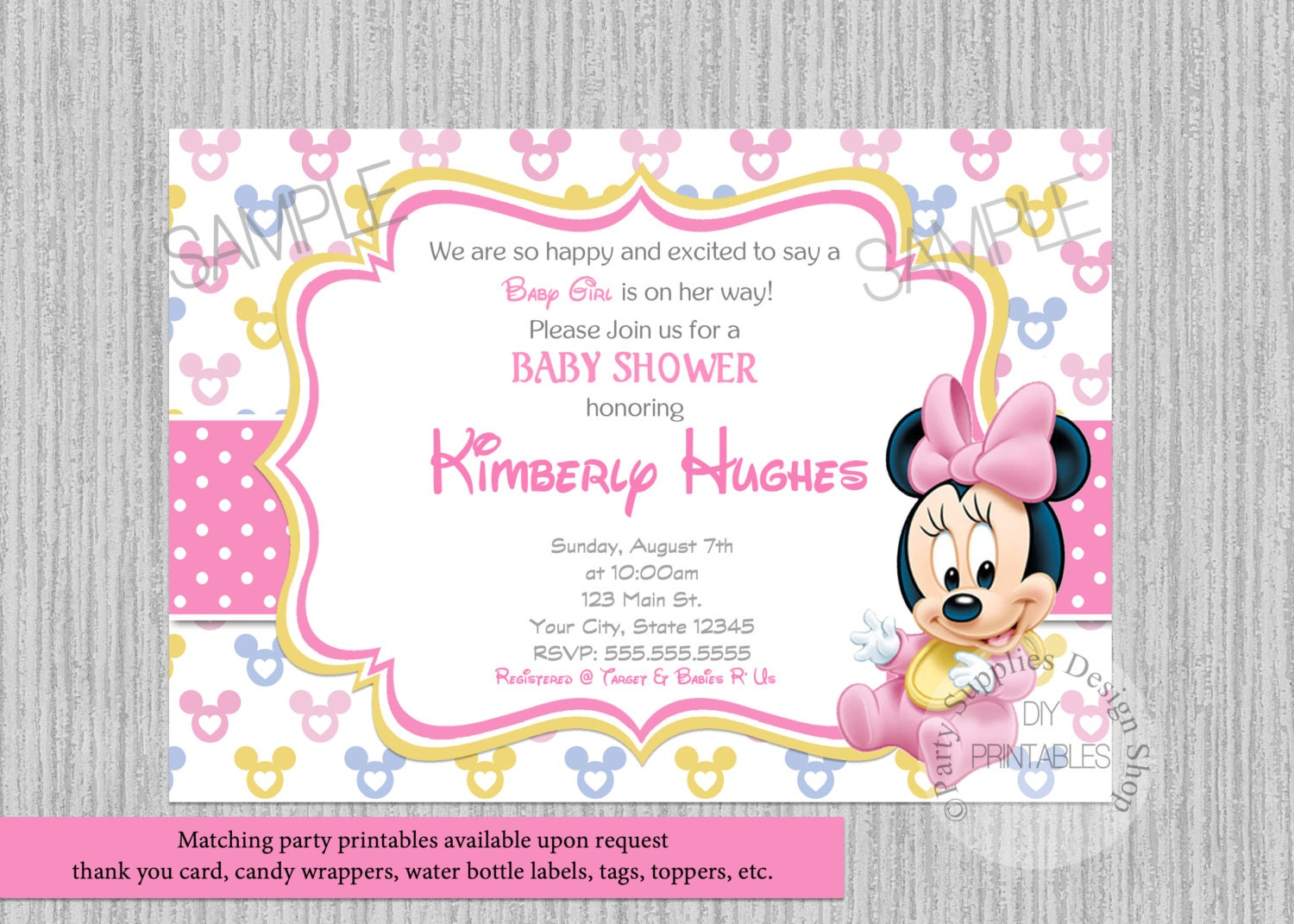 disney baby minnie baby shower invitations minnie baby shower