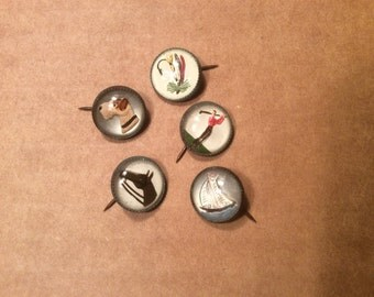 Five Vintage Intaglio Glass Bubble Pins