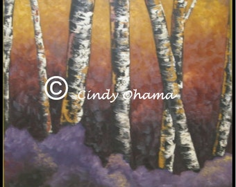 Birch Trees (Oil) by Cindy Ohama