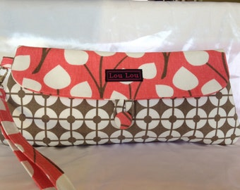 Salmon,White and Taupe, Summer Clutch Purse, Wristlet,Hand Bag