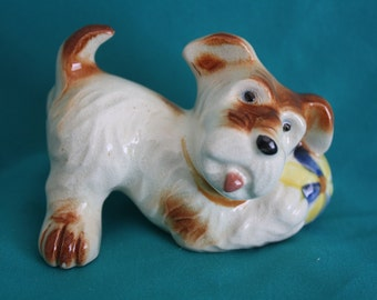 """Vintage Terrier with Ball Dog Figurine Occupied Japan Porcelain 2.25"""" tall"""