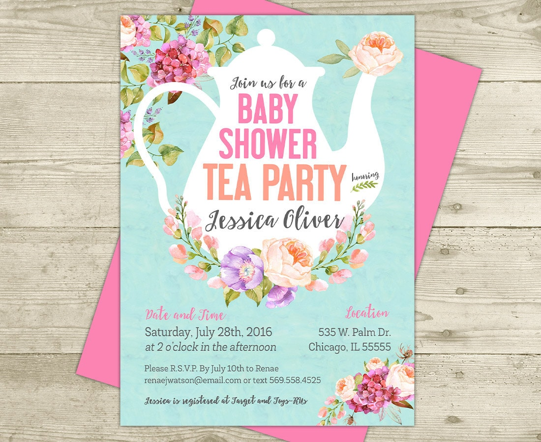 tea party baby shower invitation floral shabby girl baby