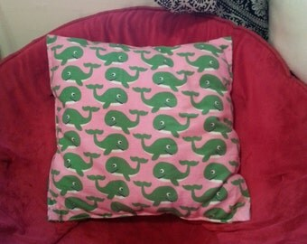 Pink and Green Whale Pillow