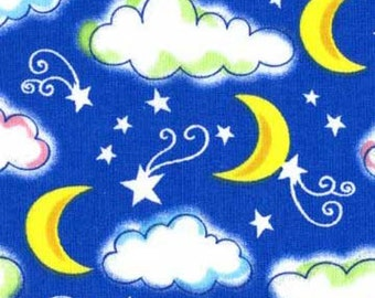 "Lite glitter Moons Stars and clouds 100% cotton 44"" fabric by the yard,a213"