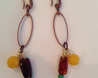 Earrings with turquoise, amber and agate lemon