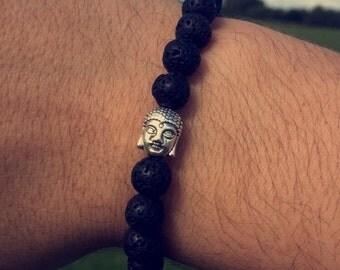 New Black Lava Rock Beaded Bracelet With Silver Buddha.