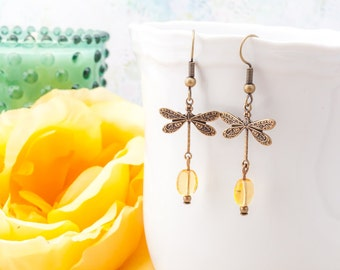 Outlander Inspired Dragonfly in Amber Earrings Brass  - Bookish Gift - Book Lover Gift - Book Jewelry - Book Worm