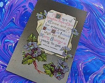 Antique Post Card - Birthday Poem - Floral