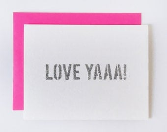 LOVE YAAA! | handmade glitter typography just because card!