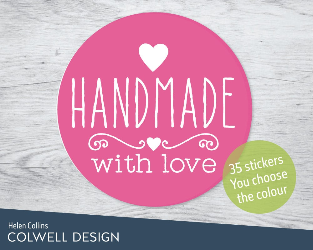 35 x HANDMADE WITH LOVE stickers 37mm diameter round sticky