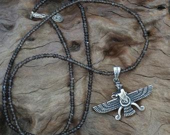 Smoky  Quartz chain with steering silver farvahar-Sugati 047