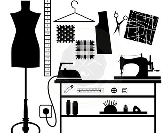 Sewing Tools Silhouettes Clipart,sewing clipart,crafting clipart,silhouettes clipart,digital download