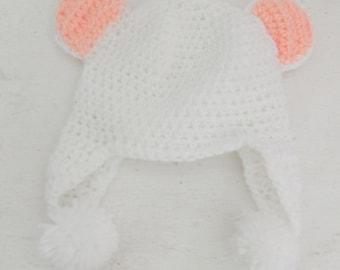 White Crochet Baby Earflap Bear (Pink Ears) Hat Newborn