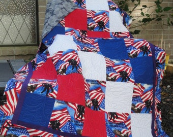 "Wounded Warrior Project Handmade Quilt-Red, White & Blue-Approx. 40"" x 60"""