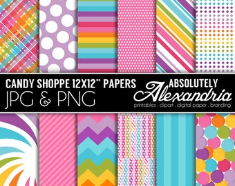 Candy Shoppe Digital Papers - Personal & Commercial Use - Candy Shop Paper, Candy Graphics, Patterns, Candyland Scrapbook Page Kit