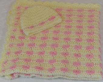 Hearts Baby Blanket with Hat