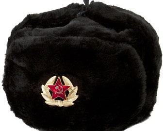 Russian Soviet Soldier Winter Army Hat Ushanka With Soviet Badge