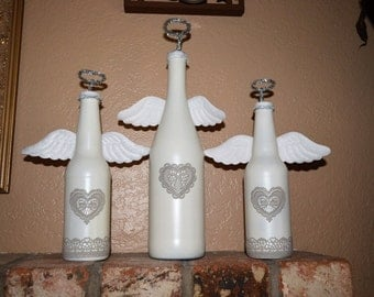 Set of 3 Angle re-purposed bottles