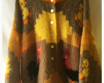 Hand Knitted Mohair Chicken /Duck Cardigan