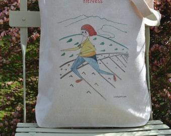 Canvas Shopping Tote Bag, FitNess Gym Bag, Craft or Book Bag, Illustrated Art Tote, Market Shopper, Caricature Art on Bag, Illustration Tote