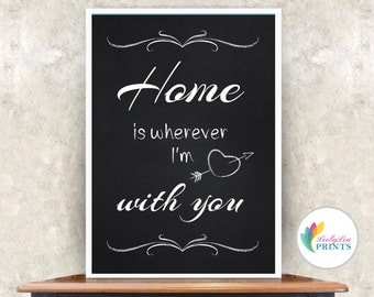 Kitchen Chalkboard Quote - Home is wherever I'm with you - Kitchen Print - Quote Print