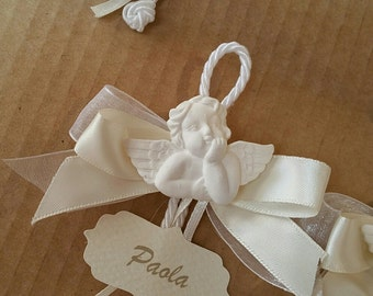 baptism wedding holy communion placeholders with plaster angel and customized tag