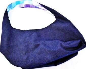 Denim Hobo style bag, fully reversible
