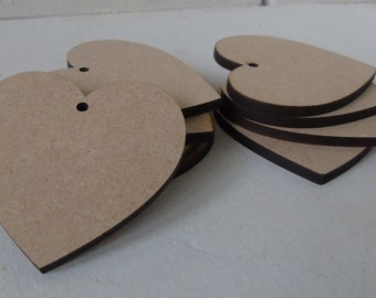 10 (6cm) Wooden Heart Shape Craft Tag Wedding embelishment