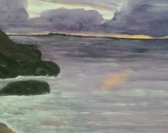 Purple Sunst, acrylic painting, 9x12, canvas sheet, suitable for framing