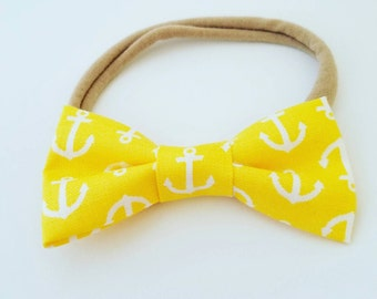Emmy bow- Anchors away yellow