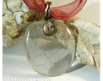 Real Spiderweb in Resin with Copper Pendant Necklace