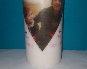 Large Sized Personalised Candle/Photo Candle
