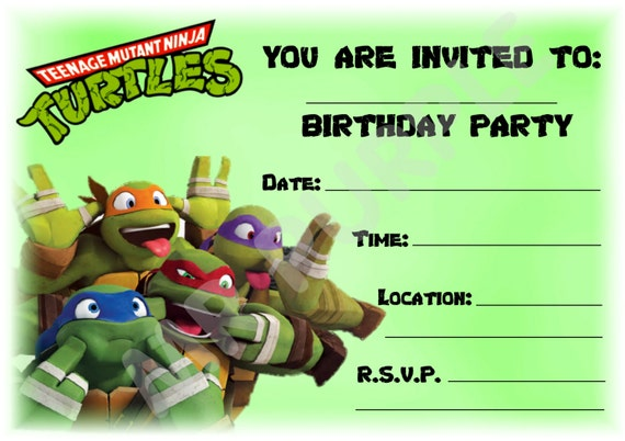 A5 Superhero Children's Party Invitations x 12 - Teenage Mutant Ninja Turtles Landscape Design
