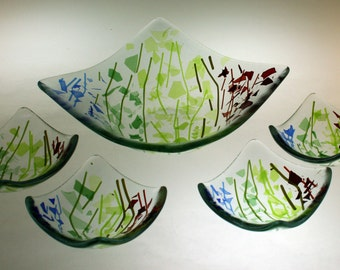 Bowl and dishes - Confetti Spectrum glass - Set of four treat plates plus square bowl