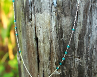 Sterling Silver and Blue Apatite Handcrafted Chain Necklace