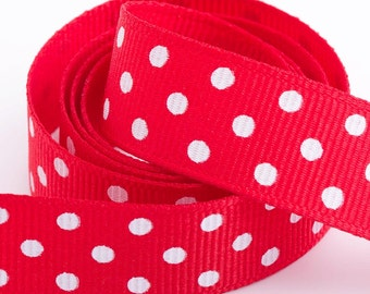 Full Reel Polka Dot Grosgrain Ribbon Ribbon 15mm x 10m - Red